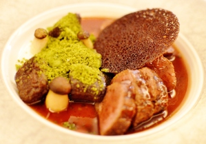 Spiced venison leg w chocolate gnocchi, pea powder & king brown mushrooms