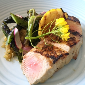 White miso-glazed ruby tuna w robata-charred asparagus, Japanese turnips, lemon and quinoa