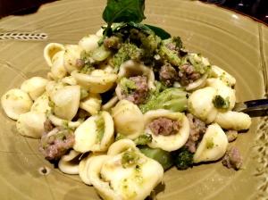 Homemade orecchiette w Italian sausage & broccoli drizzled w EVOO