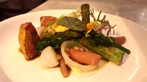 Sesame Roasted Broccolini, Fried Summer Squash, Roasted Baby Onion, Dashi Braised Carrot, Buckwheat Custard, Sake Lees Vinegar Dressing
